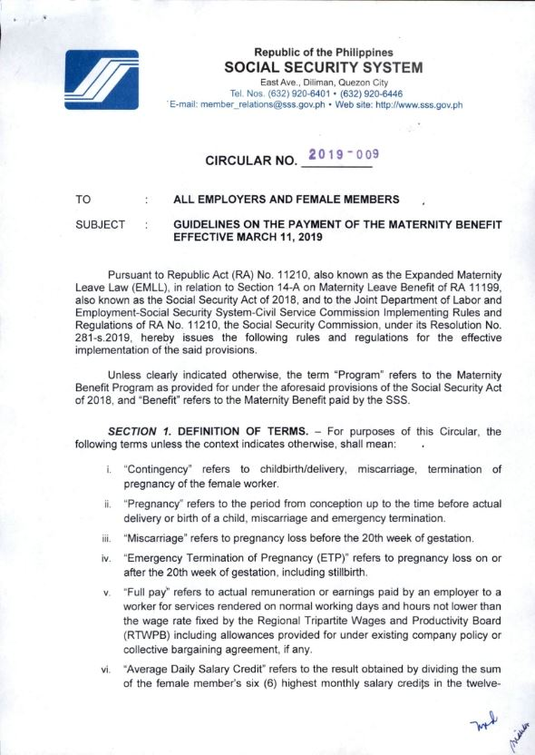 Expanded Maternity Leave Sss Circular 2019 009 Lvs Rich Publishing
