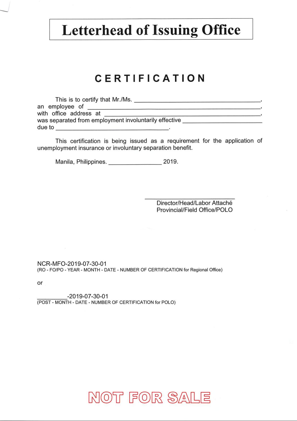 unemployment certification sample affidavit employer insurance guidelines