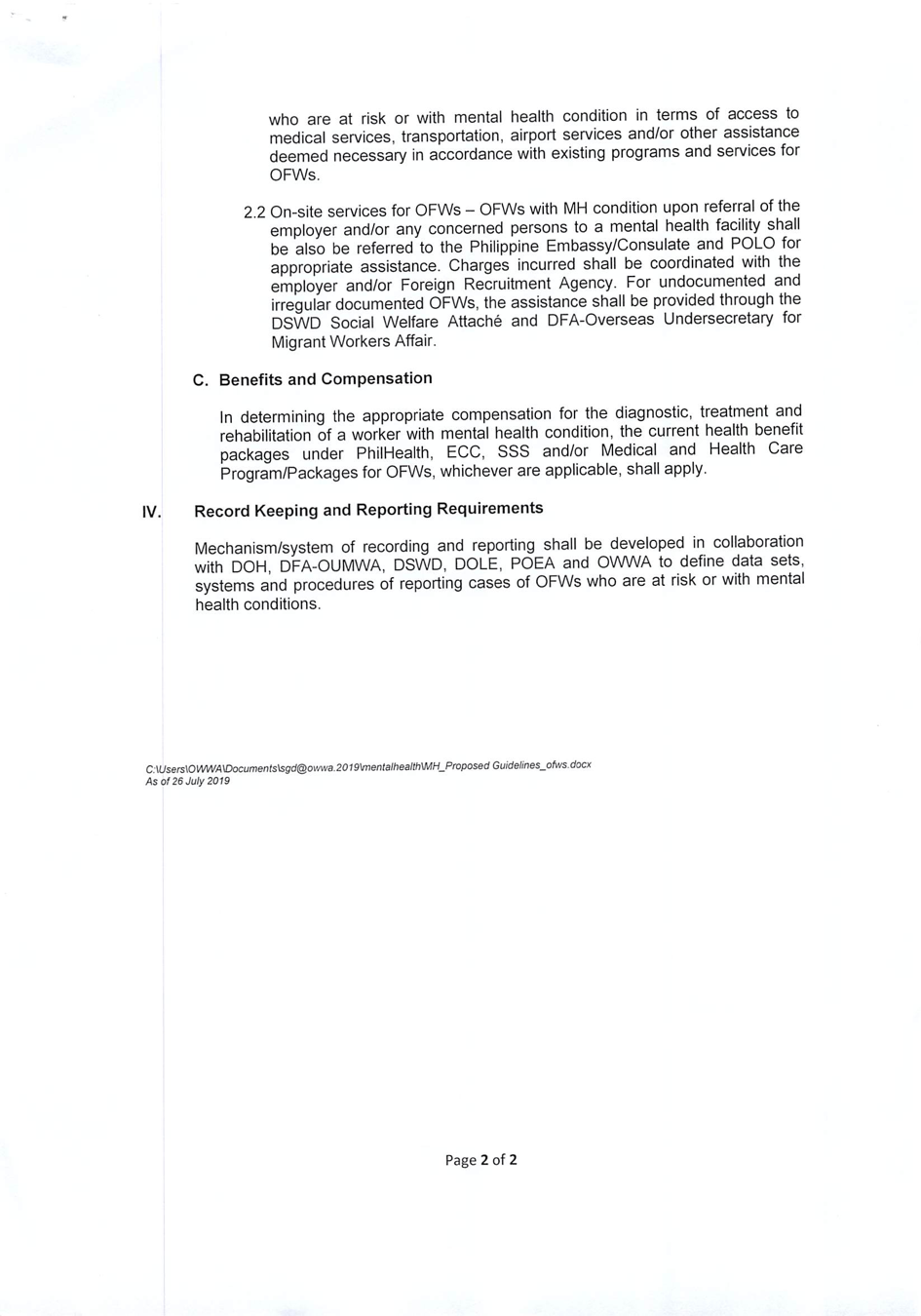 Department Order No. 208, Series of 2020 or the Guidelines ...